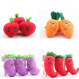 $enCountryForm.capitalKeyWord Australia - New Fruit Vegetable Squeak Toy For Dog Puppy Plush Red Pepper Eggplant Radish Sounding Pet Toys