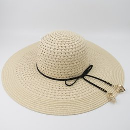 b568e187482 New Female ladies Paper straw Hollow Floppy Hat Sun Summer Beach Wide Brim  UV Protection High Quality Caps Party Ladies Foldable Hat MH1843