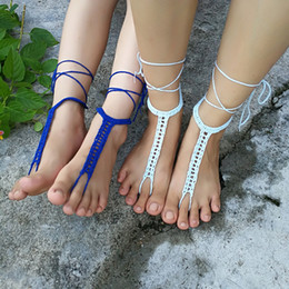 $enCountryForm.capitalKeyWord Australia - Crochet white barefoot sandals Nude shoes Foot jewelry Beach wear Yoga shoes Bridal anklet bridal beach accessories white lace sandals S214