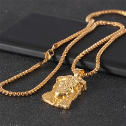 $enCountryForm.capitalKeyWord NZ - Hot gold color filled Pleated jesus piece pendant necklace for men women hip hop jewelry Gold-Color chunky chain long necklace Chritmas Gift