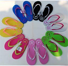 a0cd2089b LOVE PINK Girls Flip Flops Sandals Beach Slippers Shoes Womens Summer  Outdoor Soft Beach Ladies Slipper 2pcs pair