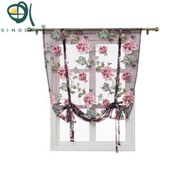Chinese  Kitchen Short Sheer Burnout Roman Blinds Curtains Peony Sheer Panel Tulle Window Treatment Door Curtain Home Decor Rideaux manufacturers