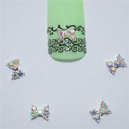 Discount colored charms - 10psc New Small colored diamonds bow 3D Nail Art Decorations,Alloy Nail Charms,Nails Rhinestones Supplies #042