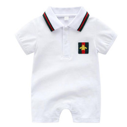 China Fashion Black Cotton Baby Rompers Summer Style Baby Boy Girl Clothing Newborn Infant Sleeve Short Clothes cheap girls white short sleeve suppliers