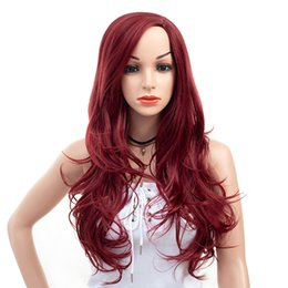 Red Hair Dyes Australia - Lady Long Synthetic Body Wave Red Wine Hair Cheap Side Bang Chemical Headgear Dyed Partial Fiber Heat Resistant Wig