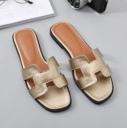 Slippers Summer Shoes Adult Australia - 2018 summer adult slippers flat with shoes woman pu slippers women solid womens shoes H - type casual