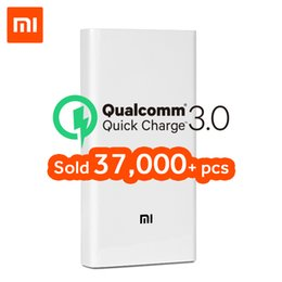 Discount mi cable - Original Xiaomi Power Bank 20000mAh 2C Portable Charger Support QC3.0 Dual USB Mi External Battery Bank 20000 for Mobile