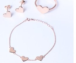 S925 sterling silver jewelry sets rings sets bracelets earrings heart sets for women hot fashion free of shipping on Sale
