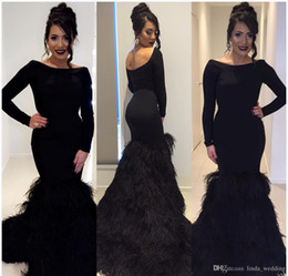 $enCountryForm.capitalKeyWord Australia - Black Feathers Mermaid Evening Dress Backless Long Sleeves Formal Holiday Wear Prom Party Gown Custom Made Plus Size
