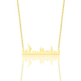 Wholesale Gold Color Statue of Liberty Bar Necklace Women Men Vintage Jewelry NYC Skyline Pendant Choker Necklaces Chain Colar Bague