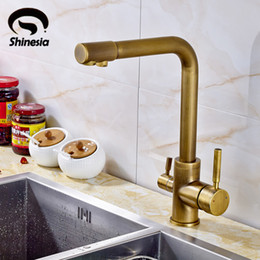 $enCountryForm.capitalKeyWord Australia - Antique Brass Kitchen Sink Pure Water Faucet Swivel Spout Mixer Tap with Purified Water Outlet