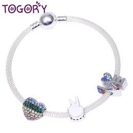 TOGORY Heißer Verkauf Sier Farbe Charm Armband Armreif Für Frauen DIY Perlen Fit Original Feine Armbänder Schmuck Liebhaber Geschenk