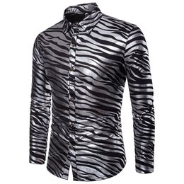 3f556988267c93 Zebra Print Shirt Men UK - Shirt men Street wear Sexy Club Party Fashion  Hot Shining