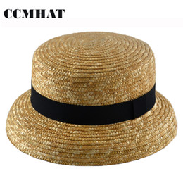 Green Straw Hat NZ - Wide Brim Wheat Straw Hat For Women Summer Ladies Panama Beach Sun Hat Boater Wheat Chapeu Feminino For Women Caps
