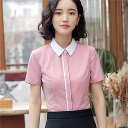 $enCountryForm.capitalKeyWord NZ - 2018 New elegant stripe shirt summer fashion formal short sleeve slim chiffon blouses office ladies work wear plus size tops