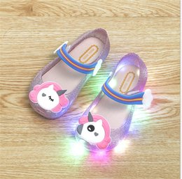 melissa shoes jelly sandals Canada - unicorn girls Led Lamp Sandals Melissa children jelly beach princess led lights shoes kids crystal fragrance sandals