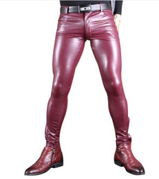 Discount plus size black leather tights - Sexy Men Faux Leather Pu Matte Shiny Pencil Pants Role Men Soft Skinny Gay Pants Thick Warm Tight Gay Wear Plus Size 100