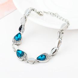 Blue Crystal Bracelet For Women Luxury Jewelry Gift Fashion Ocean Blue  Crystal Rhinestone Fine Jewelry Sliver Plated Drop Bangle Bracelet 9f46d16d8535