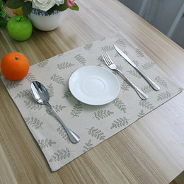 restaurant table mats NZ - 4pcs Lot Leaves Printed Placemat Dining Kitchen Table Mat Pad Tableware Utensil Restaurant Catering Coaster Acessorios Pads