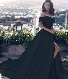 Wholesale 2019 New Sexy Black A Line Off The Shoulder Evening Dresses Side Split Prom Dress Satin Long Vestido Special Occasion Evening Gowns Arabic