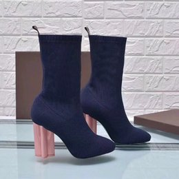 0d1915d05ed2 sexy sexy brand women s shoes in autumn and winter Knitted elastic boots  Coarse heel Short boots Designer fashion socks boots Large size