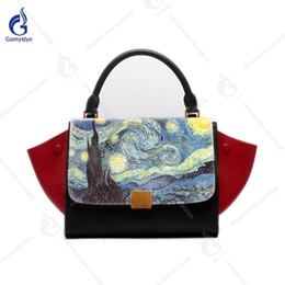 $enCountryForm.capitalKeyWord Canada - Van Gogh The Starry Night Hand Drawing Handbags Vintage Trapeze Women Bags Real Genuine Leather Totes Contrast Color 2018 New
