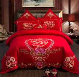 chinese beds 2019 - 100% Cotton Chinese classical luxury Wedding Bedding Set Embroidery Duvet Cover Bed Sheet Pillowcases Queen King Size 4