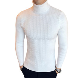 sweater casual slim fit mens 2020 - Winter High Neck Thick Warm Sweater Men Turtleneck Brand Mens Sweaters Slim Fit Pullover Men Knitwear Male Double collar