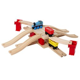 Chinese  13pcs set Classic wooden kids toys Thomas and Friends Railway Train Track Europe style Bridge slot combination manufacturers