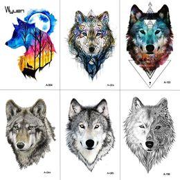 261db7739764e WYUEN Watercolor Wolf Temporary Tattoo Stickers Waterproof Women Fake Hand  Animal Tattoos Adult Men Body Art 9.8X6cm A-004