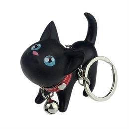 wholesale cat key rings UK - Meow Doll Keychain Cat Kitten Car Keyring Bell Toy Couple Lover Key Chain Rings For Handbag Cute Gift Car interior decoration