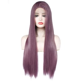 China New Sexy Cosplay Dark Purple Wig Glueless Synthetic Lace Front Wigs New Long Straight Replacement Hair Lavender Violet Heat Resistant Fiber cheap wig violet suppliers