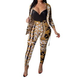 chain print pants 2019 - Gold Chain Printed Two Piece Set Women Tracksuits Autumn Spring Long Sleeve Button Up Shirt And Pant Ladies Boho Sweat S