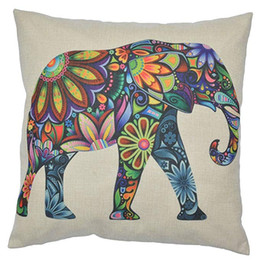 Wholesale for patchwork bedding for sale - Group buy Linen Pillowcase Animal Printed Pillowcase colorful Elephant Pillowcase for Sofa Bed Chair Decorative cute Cushion Cover