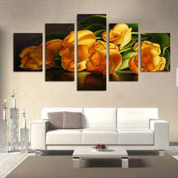 $enCountryForm.capitalKeyWord UK - Most Numerous Sell 5 PCS Canvas Wall Art Painting Beautiful Flower Canvas Pictures For kitchen Unframed Posters On The Wall