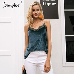 $enCountryForm.capitalKeyWord Canada - Simplee Casual strap velvet strap camisole women tank top Sexy button lace top female Autumn streetwear backless chic cami 2017