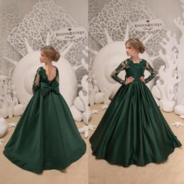 9eba0237cd44c99 2018 новый темно-зеленый A Line Girl'S Pageant платья с длинными рукавами  кружева аппликация Атлас с большим бантом дети формальный повод носить  BC0223