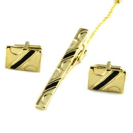 Chinese  Luxury Men Necktie Tie Bar Clasp Tie Clip Cuff Link and Tie Clip Sets Fashion Simple Gift Cuff Links for Wedding Gold   Silver drop ship manufacturers