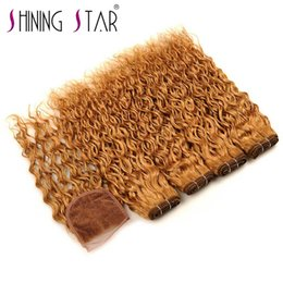 Wholesale Hair Dyes Australia - 3 bundles with closure shining star hair can be dye water wave bundles with frontal hair bundles with closure