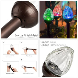 Color Changing Glasses NZ - Solar Lights Outdoor, Cracked Glass Flame shaped Dual LED Garden Lights, Landscape Pathway Lights for Path Patio Yard-Color Changing cullet