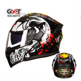 gxt motorcycle helmets 2020 - 2018 GXT 902 black skull motorcycle helmet with Double lens ,motocross PC Flip up ABS undrape face motorbike helmets siz