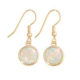 Copper Fire UK - CiNily Created White & Green Fire Opal Yellow Gold filling & Silver Fashion for Women Jewelry Engagement Earrings 3 8''OH4553-56