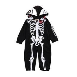 милый цельный Детские ползунки смешные Хэллоуин скелет хлопок onesie комбинезон для 0-24 месяцев новорожденного младенца боди одежда