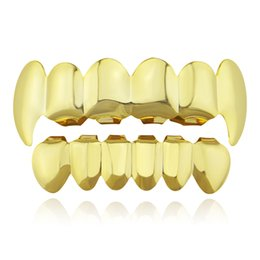 Chinese  Hiphop grillz Metal Tooth Grillz Gold plated Halloween decoration teeth Dental Grillz Top Bottom Teeth Caps Body Jewelry for Women Men 2018 manufacturers