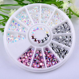 Discount 3d nail art accessories - Colorful 3D Round AB Rhinestone Crystal Glitter Bead Pearl Wheel Nail Art Tips Jewelry Decoration DIY Manicure Accessori