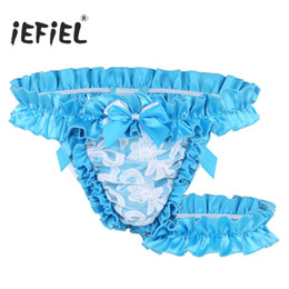f3e2fc9880a7 L Satin Panties Canada - 2018 Mens Lingerie Lace Frilly Satin Ruffled High  Cut Sissy Gay