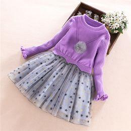 Discount skirt stars - Girls sweater 2018 new autumn and winter Korean version of the big girls sweater dress stars long sleeve children skirt