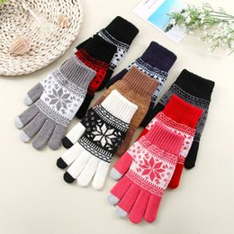 Discount snowflake screen - Lasperal Men Woman Knitted Gloves Touch Screen Girl Female Winter Autumn Snowflake Print Thick Touch Screen Knit Stretch