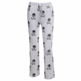 fa53f9ed5 Spring Autumn Sleep Bottoms Women Skull Print Pants Drawstring Waist Lace  Up Knitted Pajama Pants Wide Legs Loose White B87091