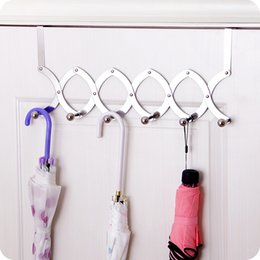 $enCountryForm.capitalKeyWord NZ - New stainless Steel Retractable over door hooks for clothes hangers Hanging Coat Hooks key holder storage rack home organizer